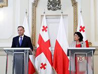 Президент Грузии Саломе Зурабишвили и президент Польши Анджей Дуда