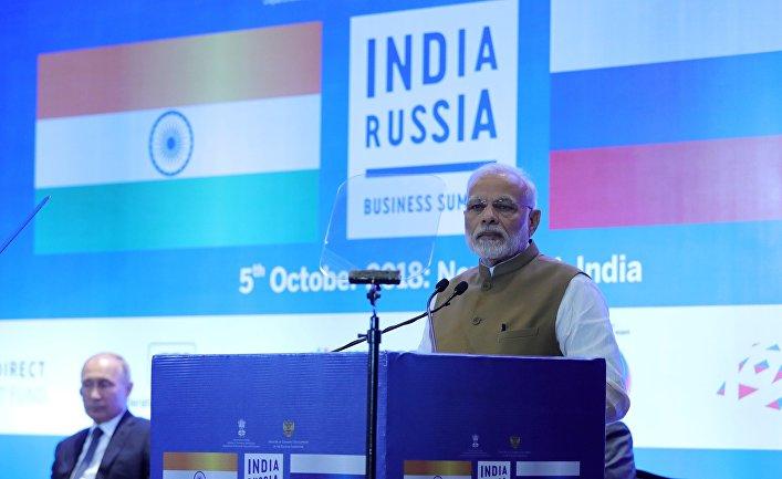 Премьер-министр Индии Нарендра Моди выступает на закрытии Российско-Индийского делового форума в Нью-Дели. 5 октября 2018