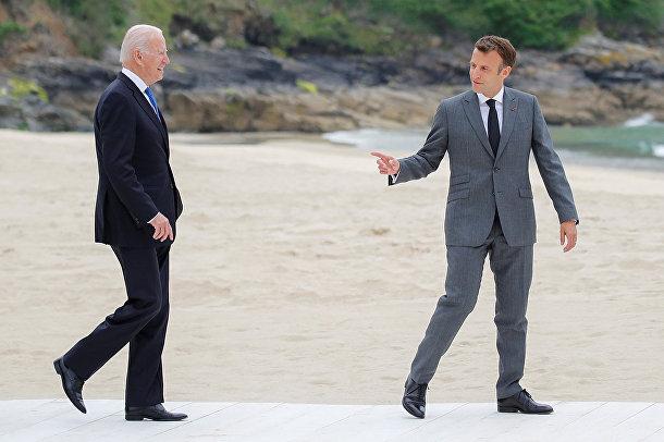 Президент США Джо Байден и президент Франции Эммануэль Макрон