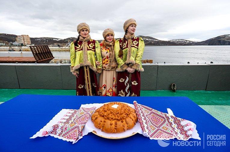 Празднование Дня Северного флота ВМФ России в губе Нерпичья в Мурманской области