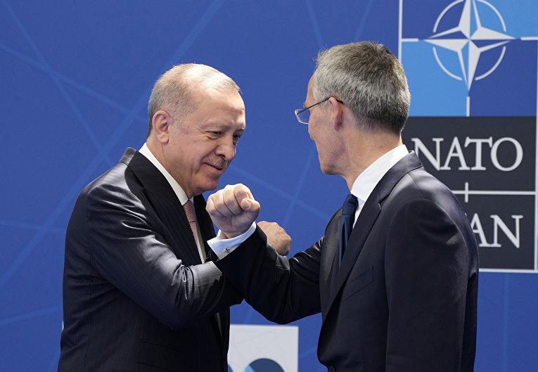 Президент Турции Реджеп Тайип Эрдоган и генеральный секретарь НАТО Йенс Столтенберг