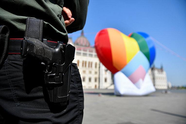Сотрудник службы безопасности во время акции протеста против закона о запрете пропоганды ЛГБТ в Будапеште
