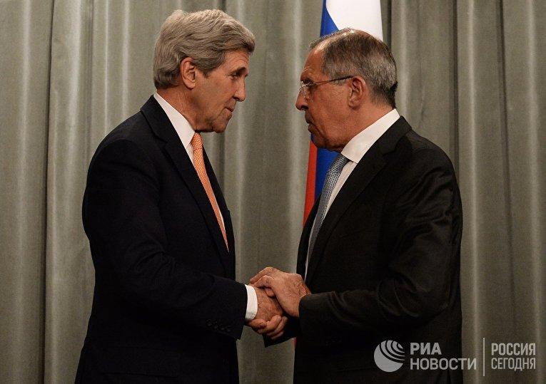 Встреча главы МИД РФ С. Лаврова с Госсекретарем США Дж.Керри