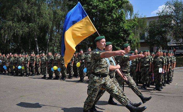 Встреча украинских пограничников, вернувшихся из зоны АТО
