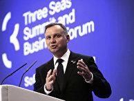 Президент Польши Анджей Дуда во время пресс-конференции «Инициативы трёх морей» в Софии