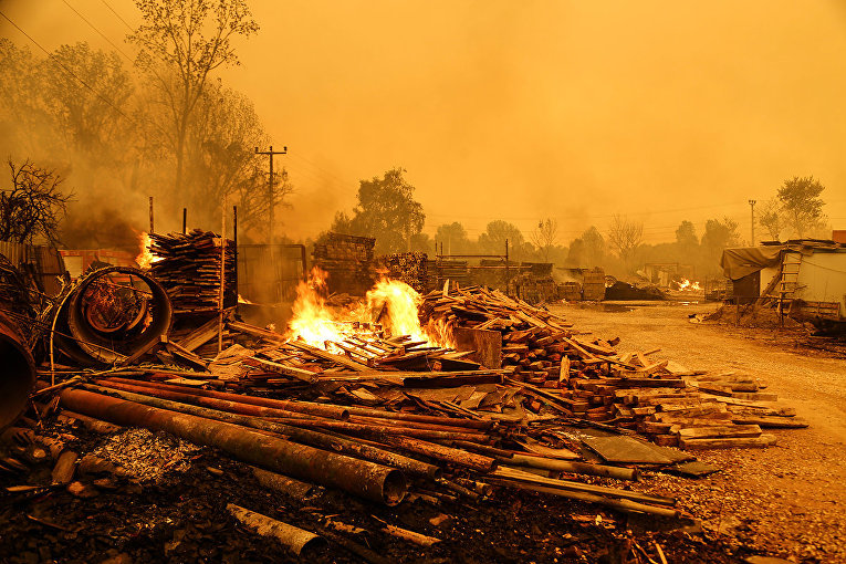 Лесной пожар недалеко от города Манавгат, Турция