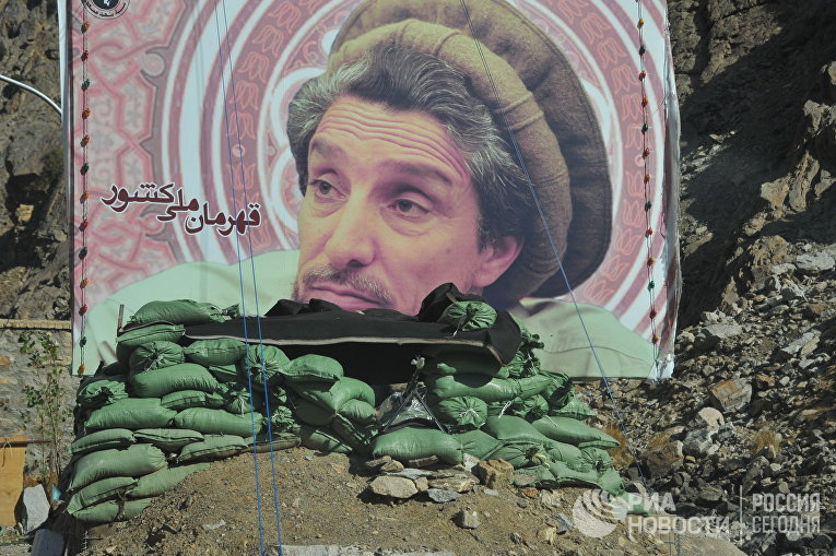 Баннер с изображением национального героя Афганистана Ахмад Шаха Масуда